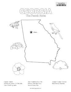 states coloring pages for kids   fun Georgia United States coloring page for kids ...