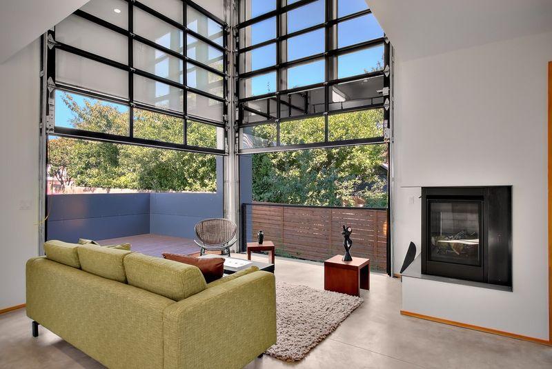 Modern Living Room Industrial Style Living Room Garage Door Design Glass Garage Door