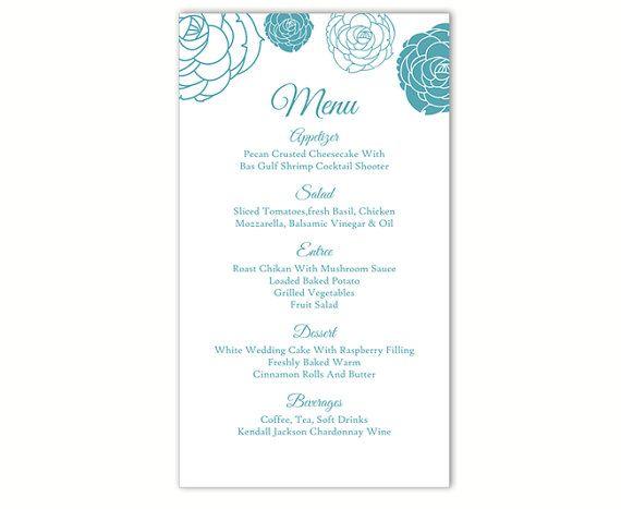 Wedding Menu Template DIY Menu Card Template Editable Text Word File - cover letter sample for job application fresh graduate