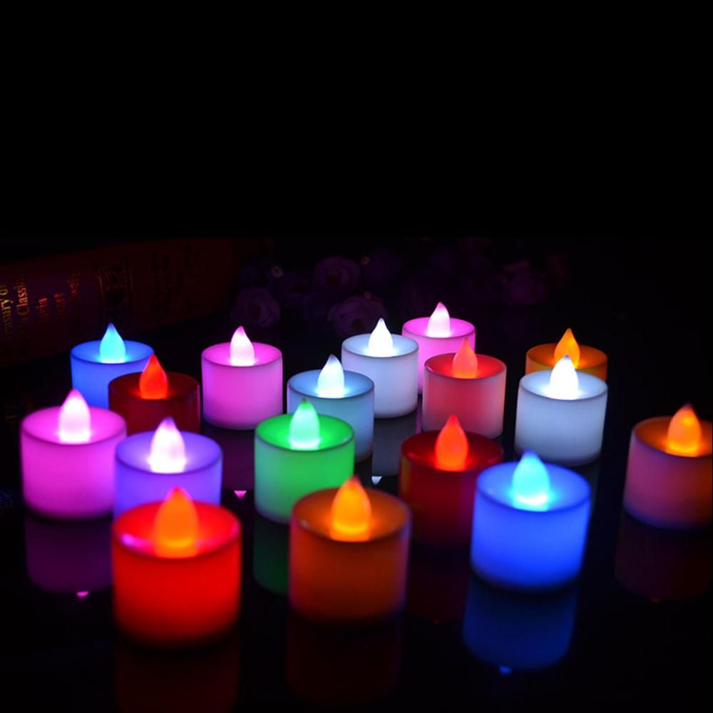 Romantic colors candle shape led candles fliker flameless candle
