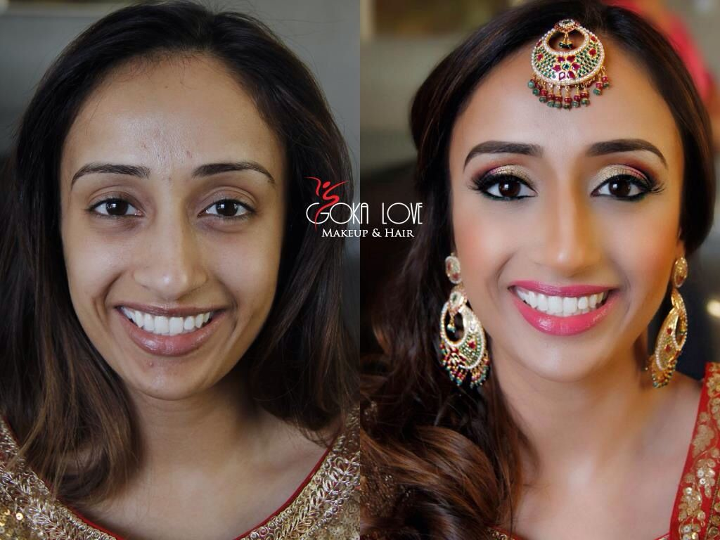Before And After Of Our Bride Makeup And Hair For Sangeet Indian