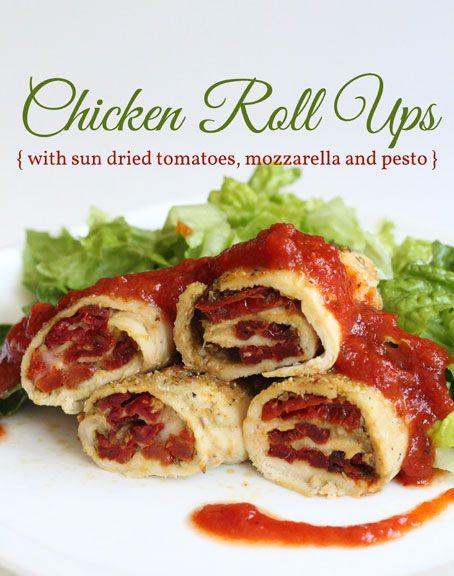 Chicken Roll Ups (With Sun dried tomatoes, mozzarella and pesto)