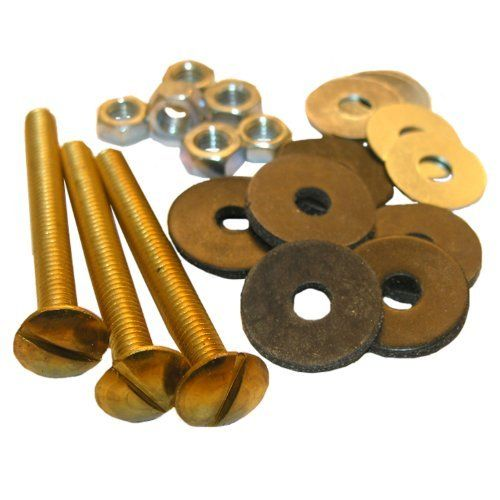 Lasco 04 3673 Toilet Tank To Bowl Solid Brass Bolts 5 16 Inch By 3 Inch With Bolts And Rubber And Brass Round Washers And Hex Nuts By Lasco 8 52 Collant Coing