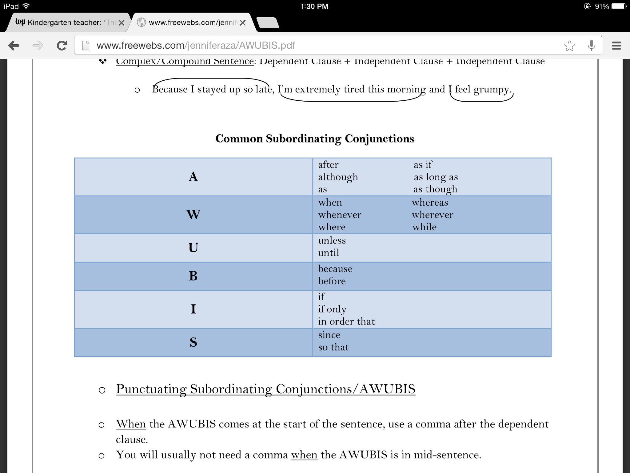 Awubis Coordinating Conjunctions