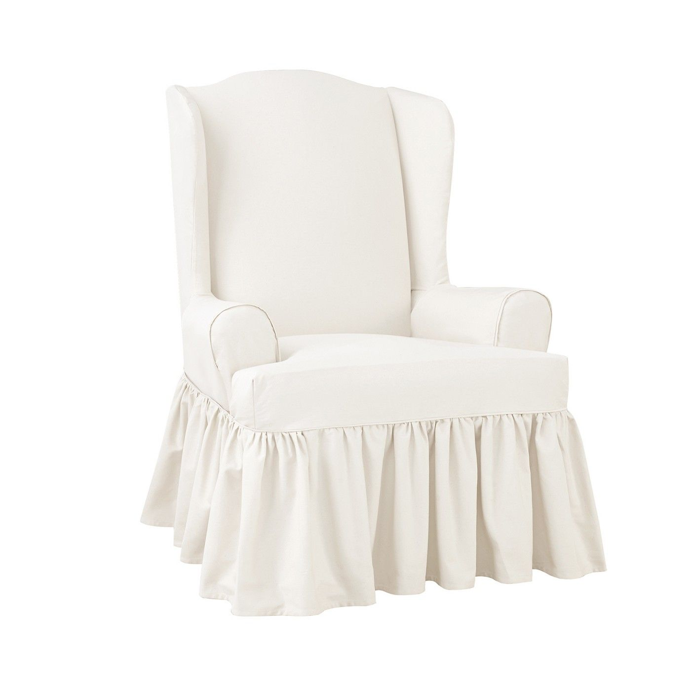 Essential twill ruffle wing chair slipcover white sure