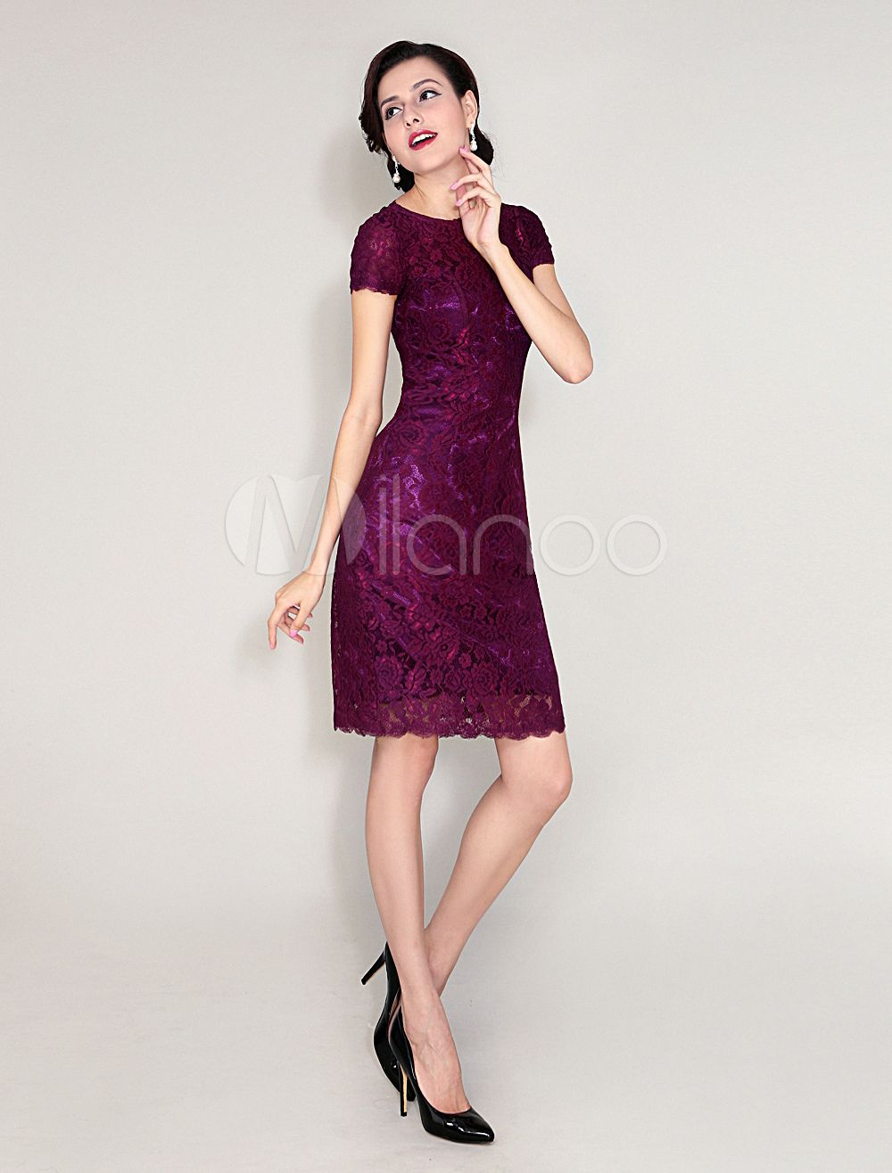 Lace Mother Of Bride Dress Magenta Sheath Wedding Party Backless Jewel Neck Short Sleeve Knee Length Evening Guest: Magenta Short Wedding Dresses At Websimilar.org