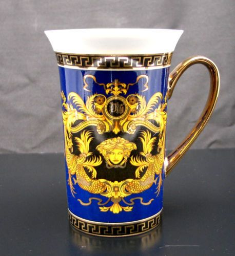 Set-of-2-Magnificent-Fine-Porcelain-Coffee-Mug-Greek-Medusa-GOLD-PLATED-RED-NEW