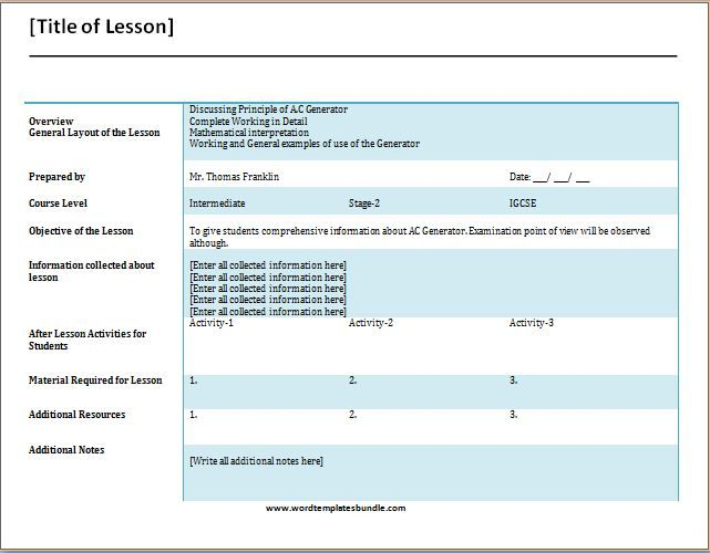 Teachers Daily Lesson Planner Template at wordtemplatesbundle - daily lesson plan template word