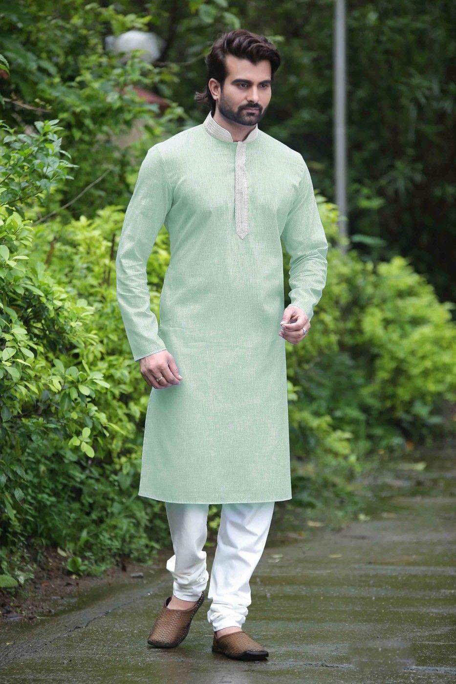 da9f411688 Light Green Cotton Silk Designer Kurta Pyjama sku:518767 Make ankle or  floor length and we have a wizards robe wizarding fashion magical style