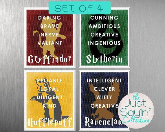 Set Of Four Harry Potter Hogwarts House Typography Traits Of Gryffindor Ravenclaw Huff Harry Potter Hogwarts Houses Harry Potter Hogwarts Harry Potter Decor