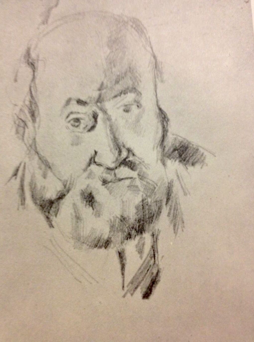 Portrait Paul Cézanne... Vintage Pencil Drawing Art