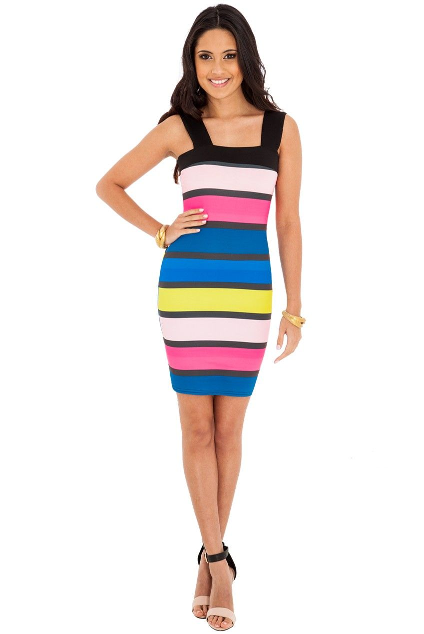 Candie Multi Colour Block Stripe Bodycon Dress via Frocksville. Click on the image to see more!