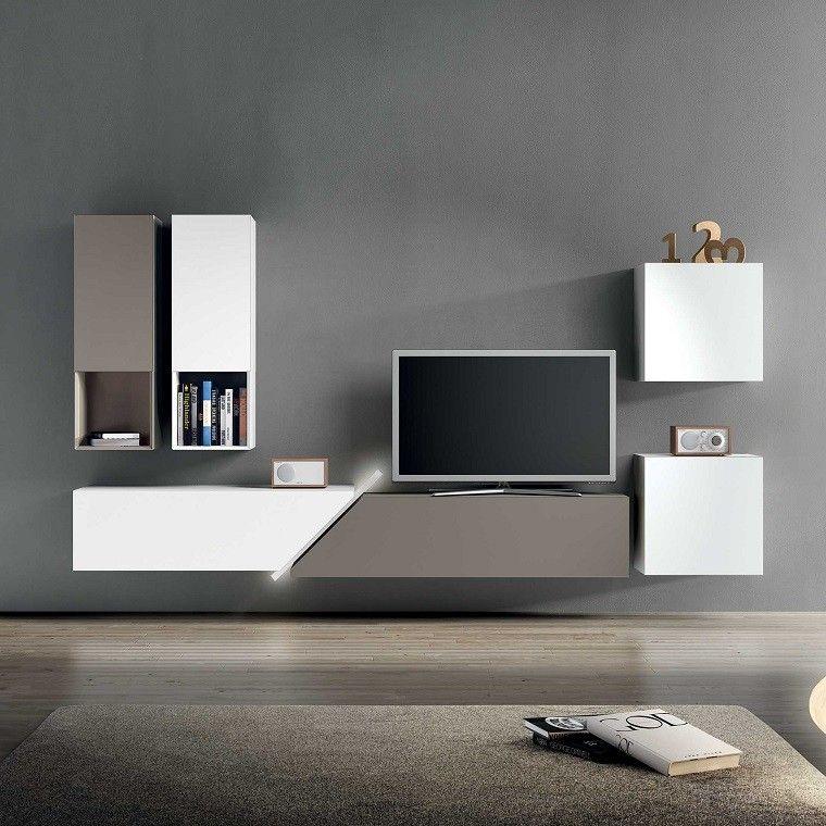 Muebles de sal n color modernos para tv centro de for Muebles modernos para living