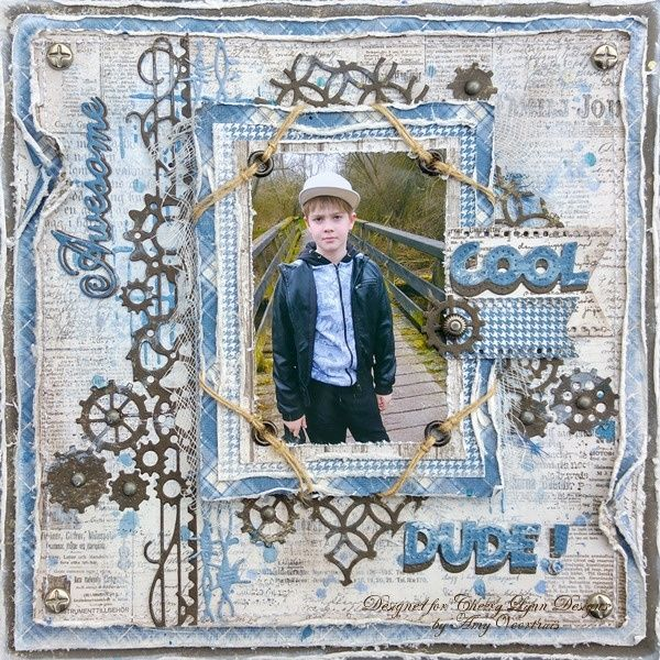 """Maja Design """"Vintage Summer Basics"""" & """"Vintage Winter"""" and I gessoed the background sheet. Cheery Lynn Designs Blog: Awesome & Cool Dude 8x8 Layout by Amy Voorthuis"""