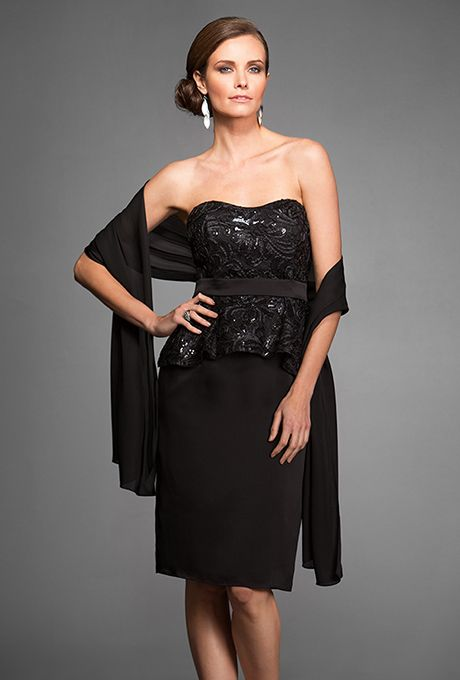 Jasmine Black Label Mothers Dresses Fall Strapless Lace Couture Satin Face Chiffon Knee Length With Optional Straps And Shawl Included