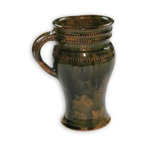 Clay glazed cup with handle