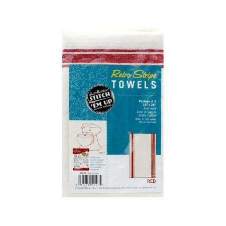 Aunt Martha's Towel Vintage Red Stripe 3pc, White