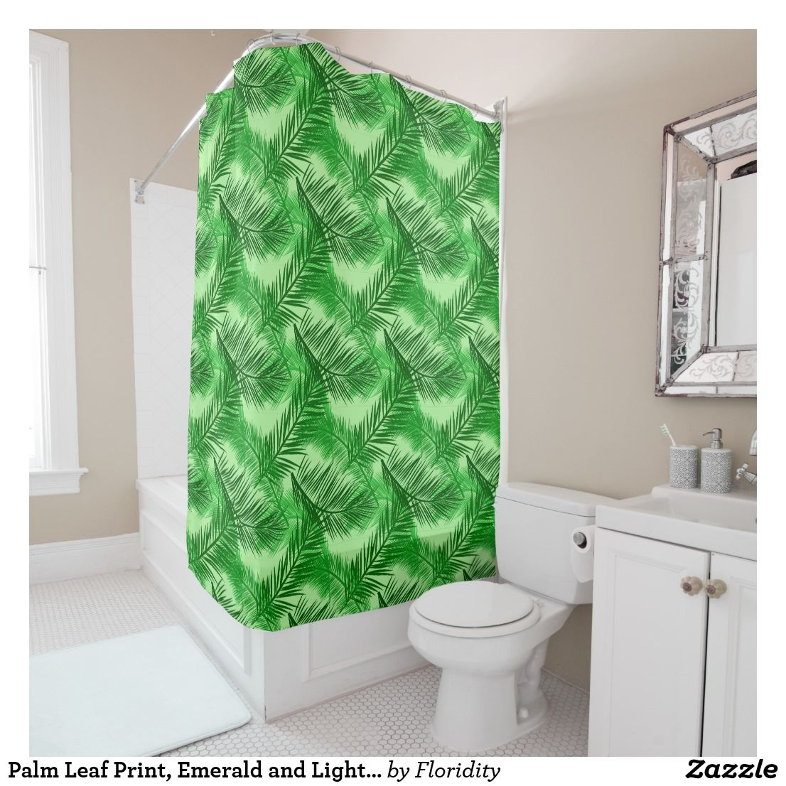 Palm Leaf Print Emerald And Light Lime Green Shower Curtain Zazzle Com Green Shower Curtains Curtains Leaf Prints