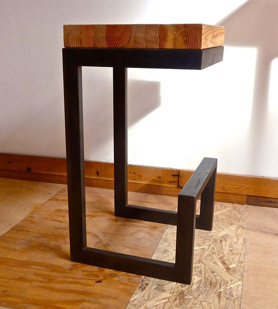 Reclaimed Wood & Steel Barstool | This handcrafted reclaimed wood and steel  barstool offers all . - Reclaimed Wood & Steel Barstool Wood Steel, Steel And Woods
