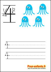 Apprendre à écrire les chiffres en maternelle. Le 4.