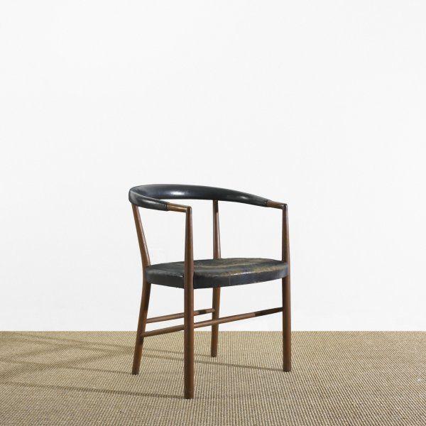 Jacob Kjaer; Teak and Leather 'UN' Chair for Jacob Kjaer Møbelhaandvaerk, 1949.