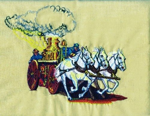 Fire Engine Horses Embroidery Design Soccer Ball Pillow