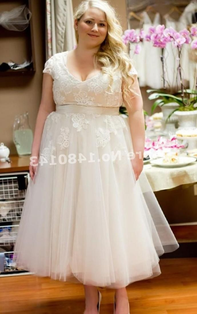 Plus Size T Length Wedding Dress