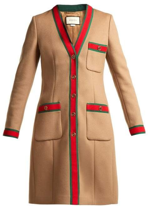Gucci , Web Stripe Wool Coat , Womens , Brown