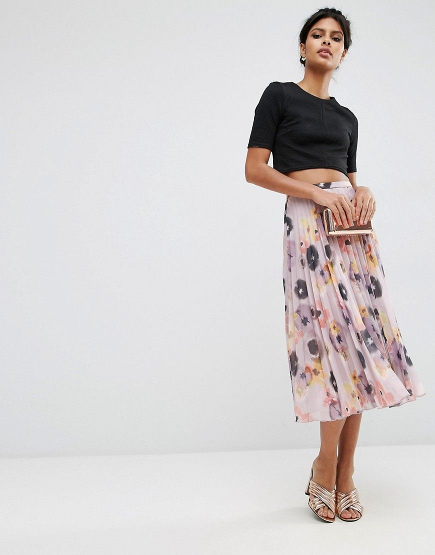 Asos pleated midi skirt in floral print wedding guest pinterest