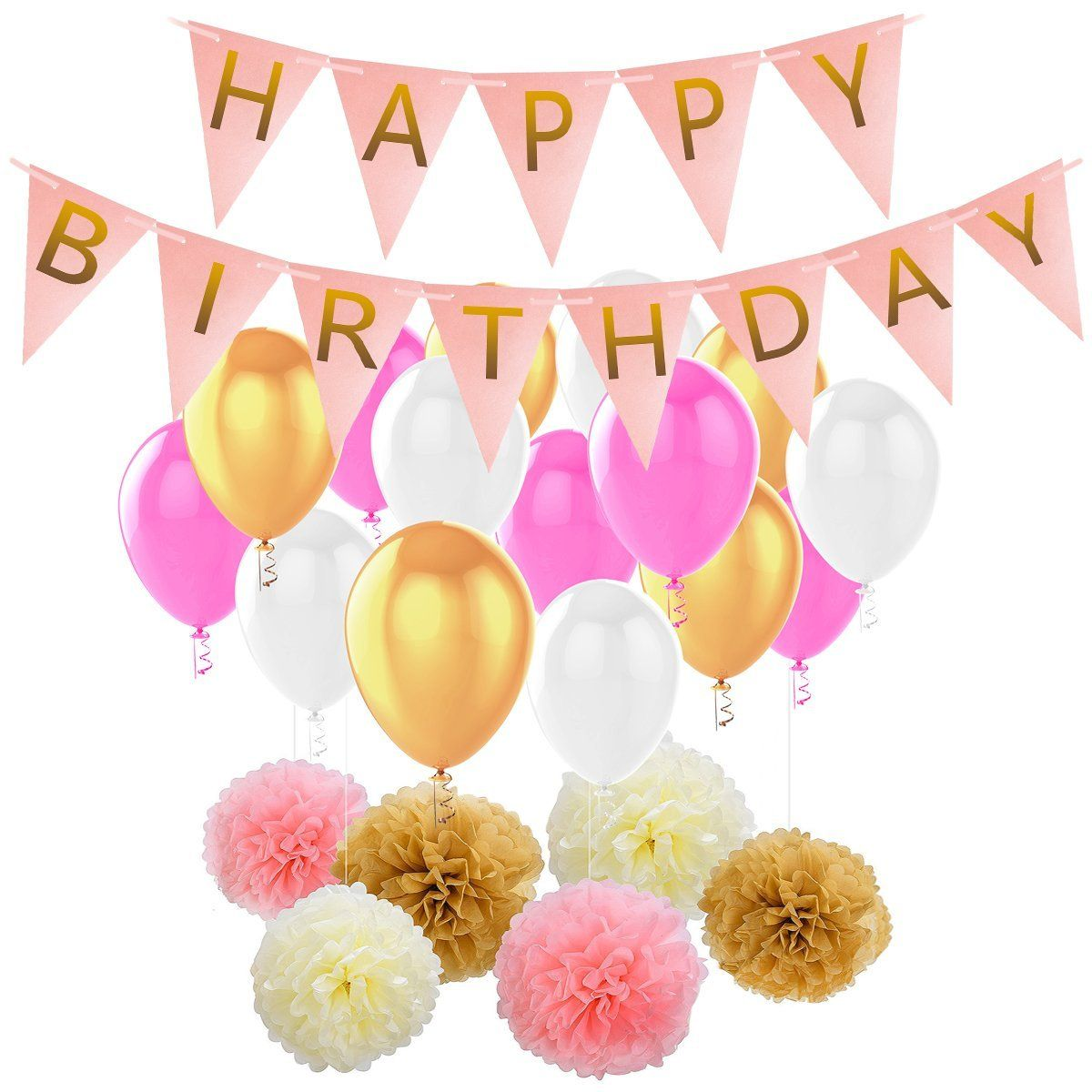 Birthday Party Decorations HusDow Happy Birthdays Banner Garland 6 Tissue Paper Pom Poms And