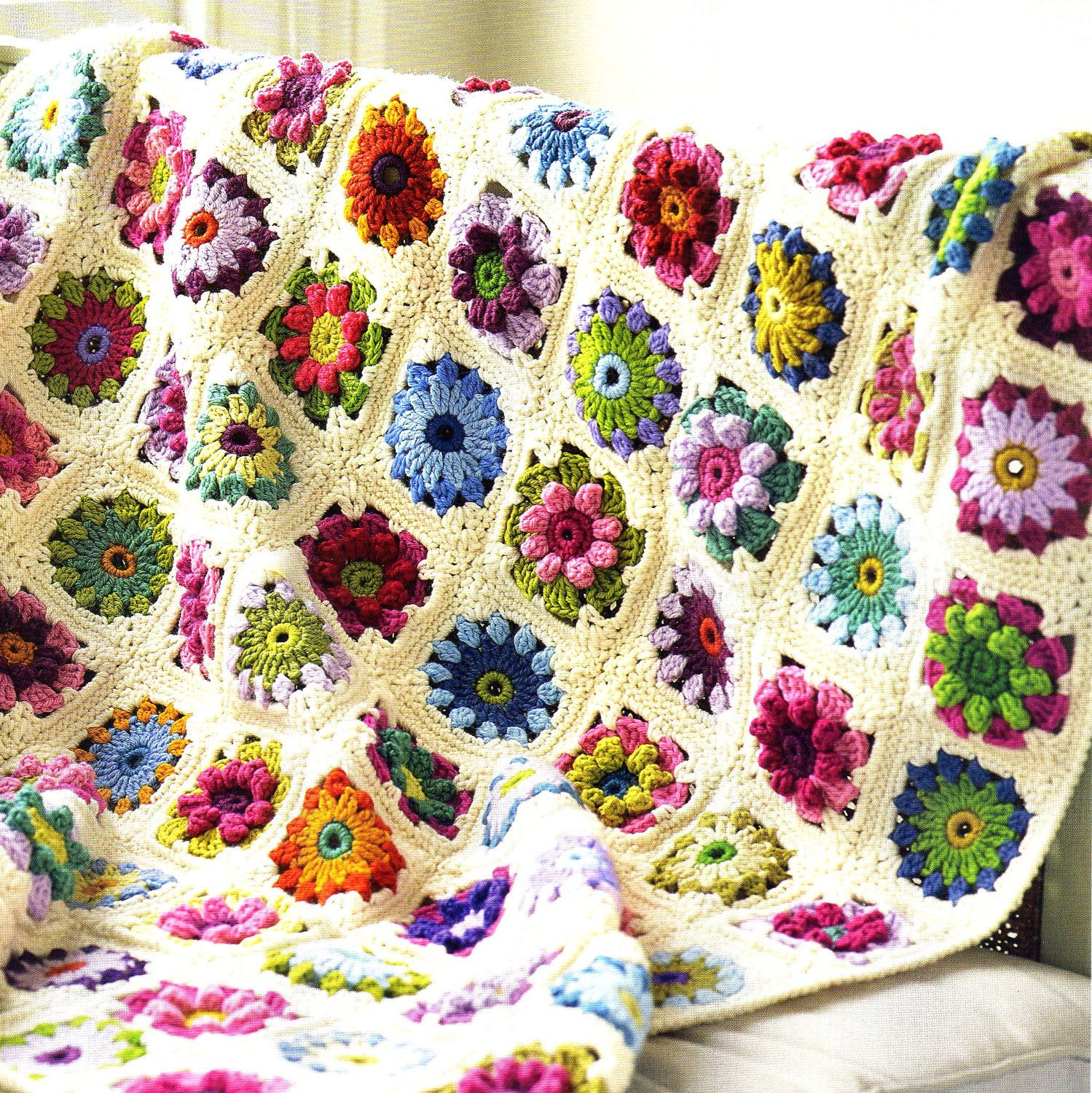 Vintage Rose and Daisy Flower Afghan Crochet Pattern. $5.00, via ...