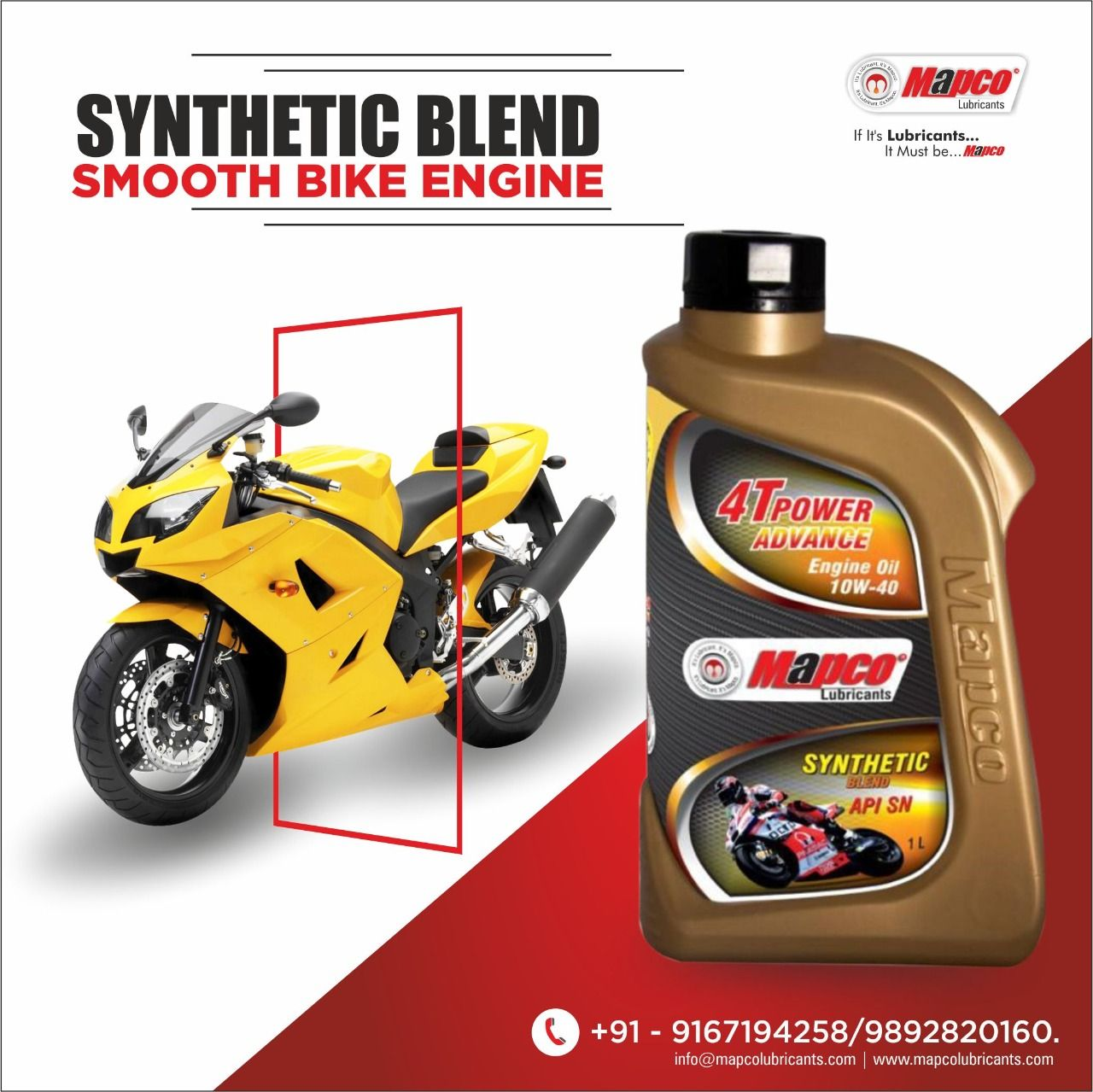 Mapco Lubricants. Synthetic Blend Engine Oil With Advanced