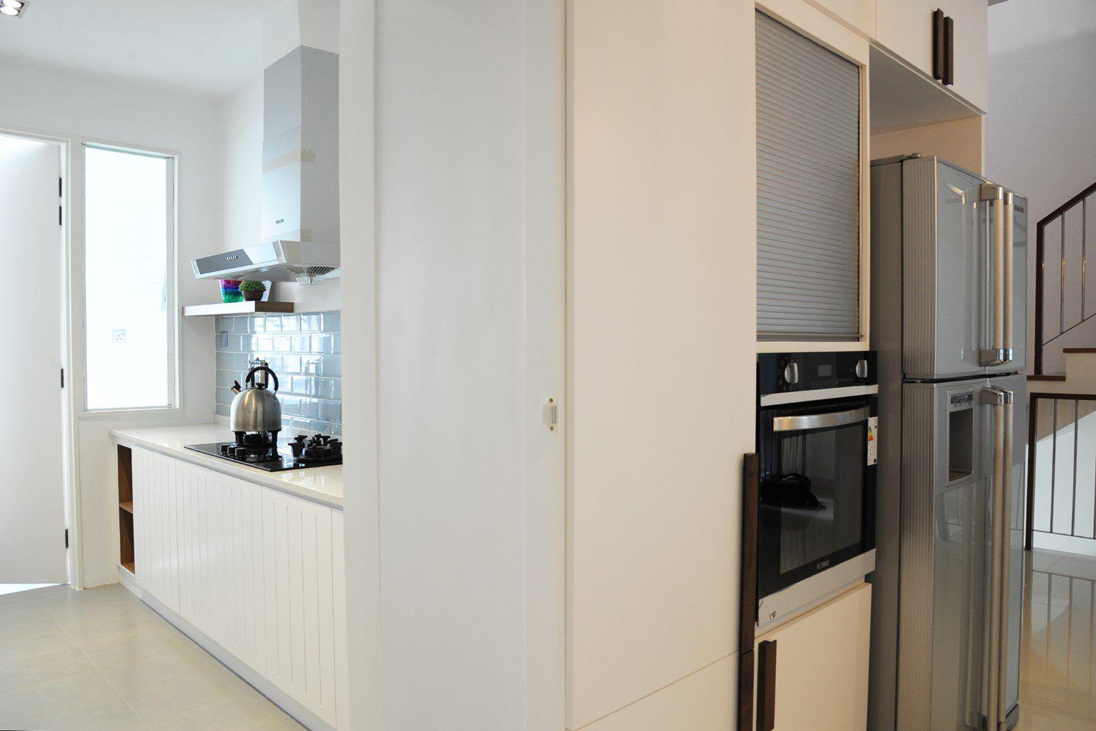 Hidden door slides away at the dry kitchen to reveal the wet kitchen ...