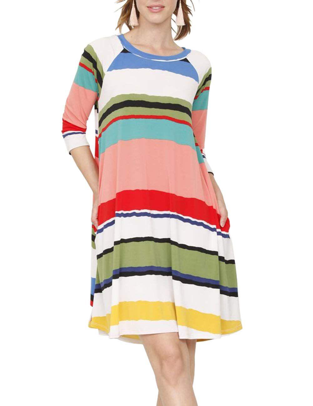 cb60faf84e5 DUNEA Womens 3 4 Sleeve Striped Print Midi Dress with Pockets Color Block  Raglan Tunic