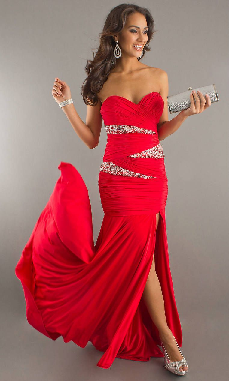 A long strapless gown in an a-line cut is just one way to dress ...
