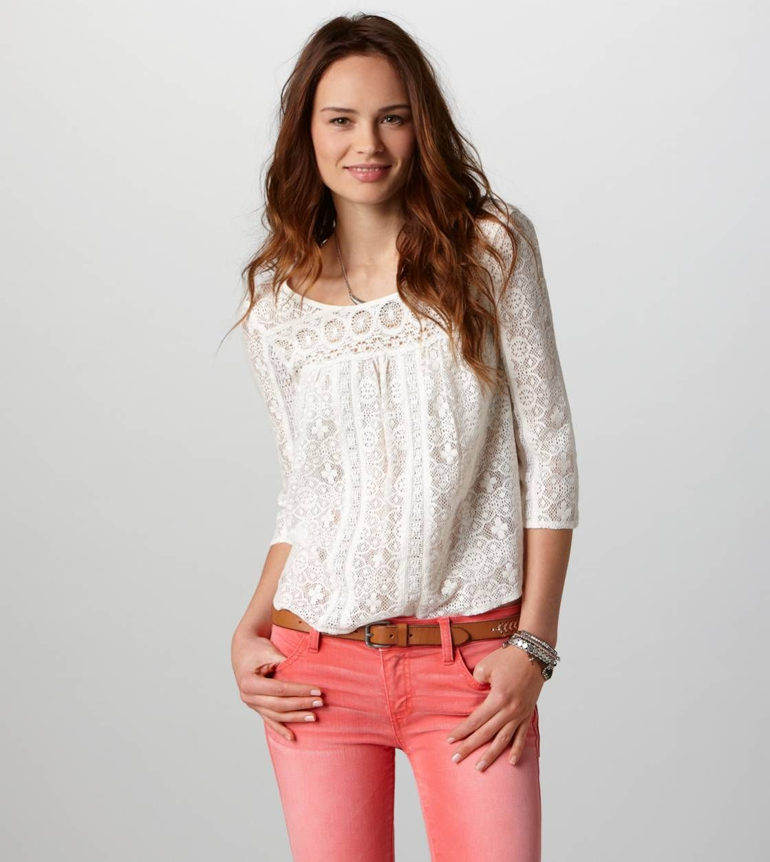 AE Paneled Lace Top w/ coral skinny jeans-Just bought my first pair of coral skinnys so I'm looking for inspiration!