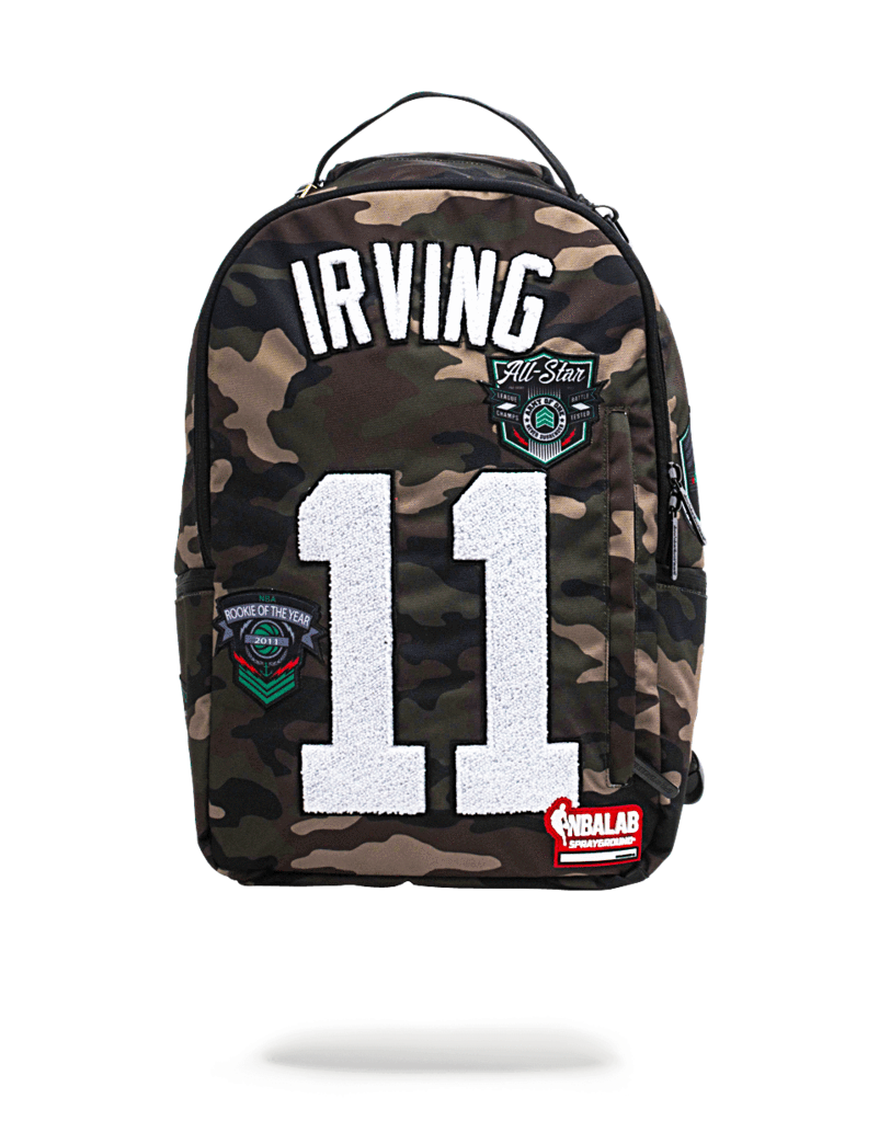 56db8a4627b0 Sprayground NBA Backpack x Kylie Irving #11 Patch ( Camo ...