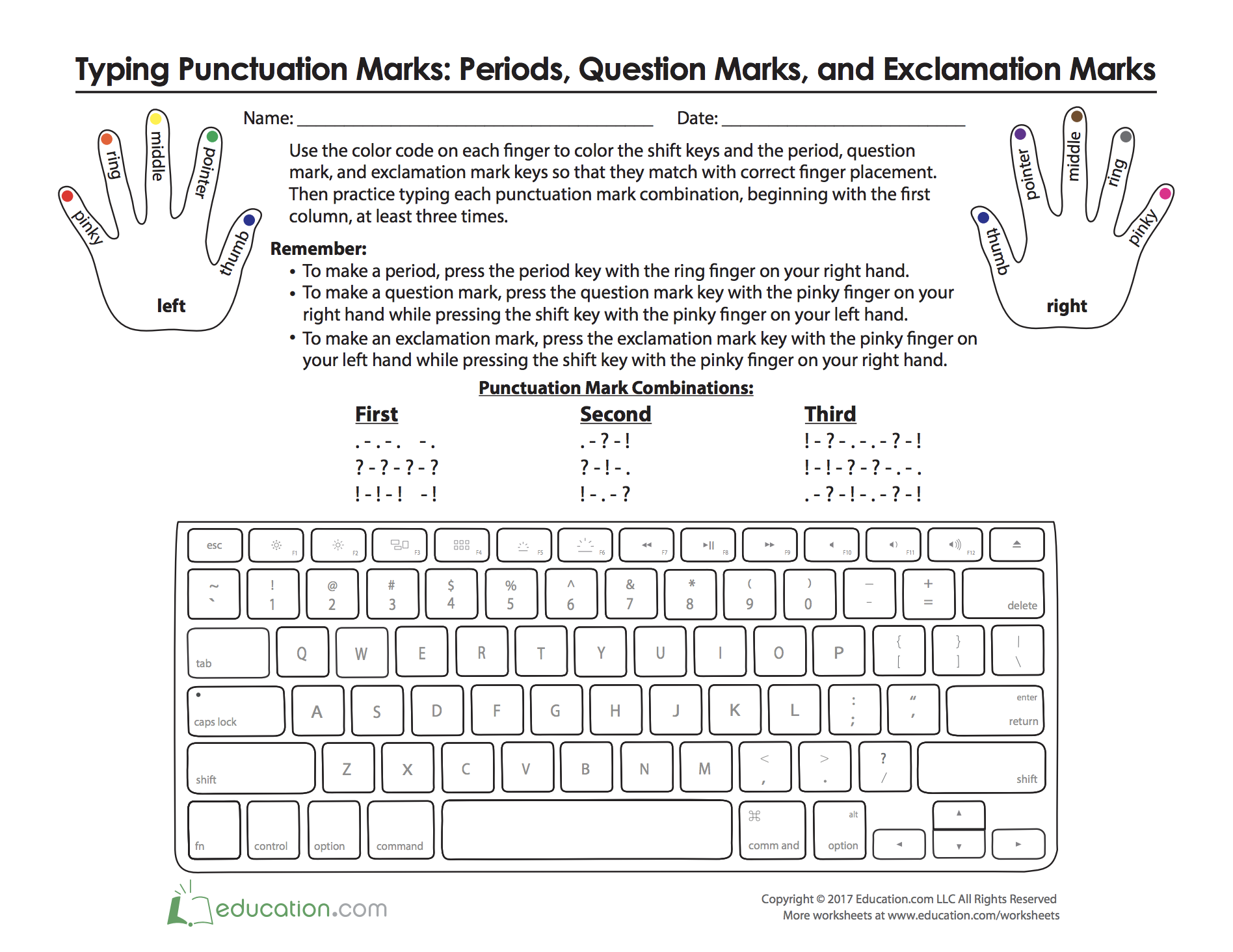 Where Do My Fingers Go Typing Punctuation Punctuation