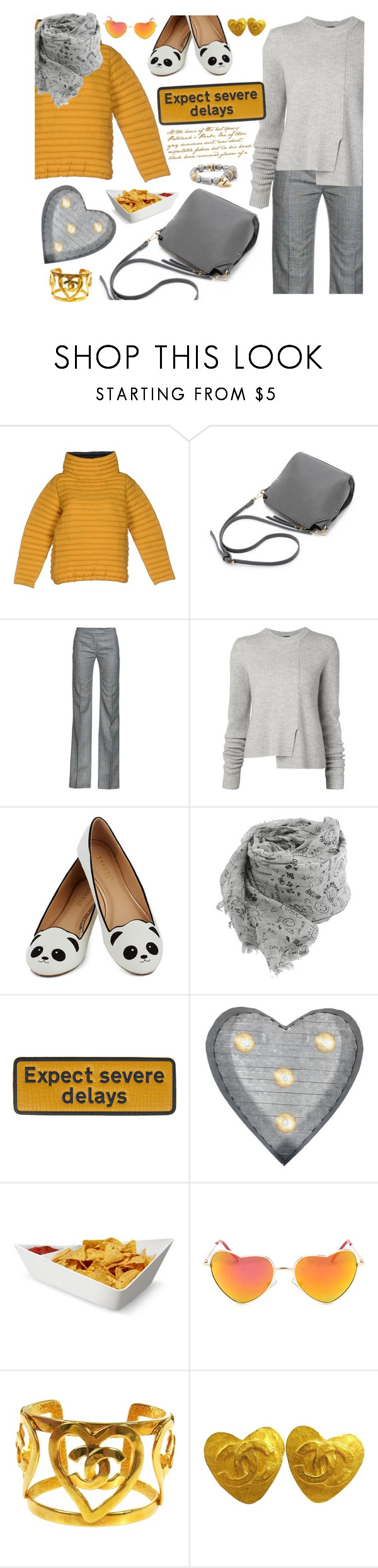 """Expect severe delays"" by soofiia ❤ liked on Polyvore featuring DOUUOD, Antonio Berardi, Proenza Schouler, Faliero Sarti, Anya Hindmarch, Crystal Art, Black+Blum, Chanel, Chico's and women's clothing"
