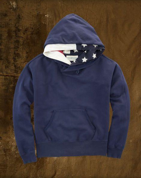 8b8f154d6a3 Flag Shawl-Collar Hoodie - Denim   Supply Sweatshirts - RalphLauren ...