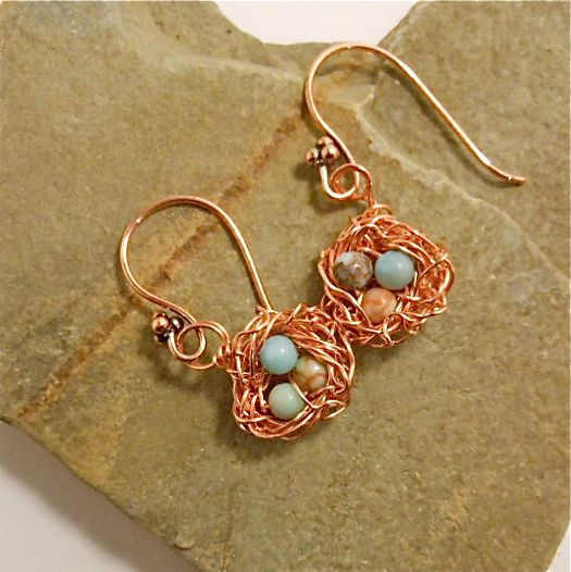 Bright copper wire with sea-blue jasper beads.