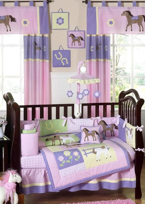 Pretty Pink Pony Baby Bedding 9 Piece Western Girl Horse Crib Set By Sweet Jojo Designs Baby Crib Bedding Sets Nursery Bedding Sets Girl Baby Bed