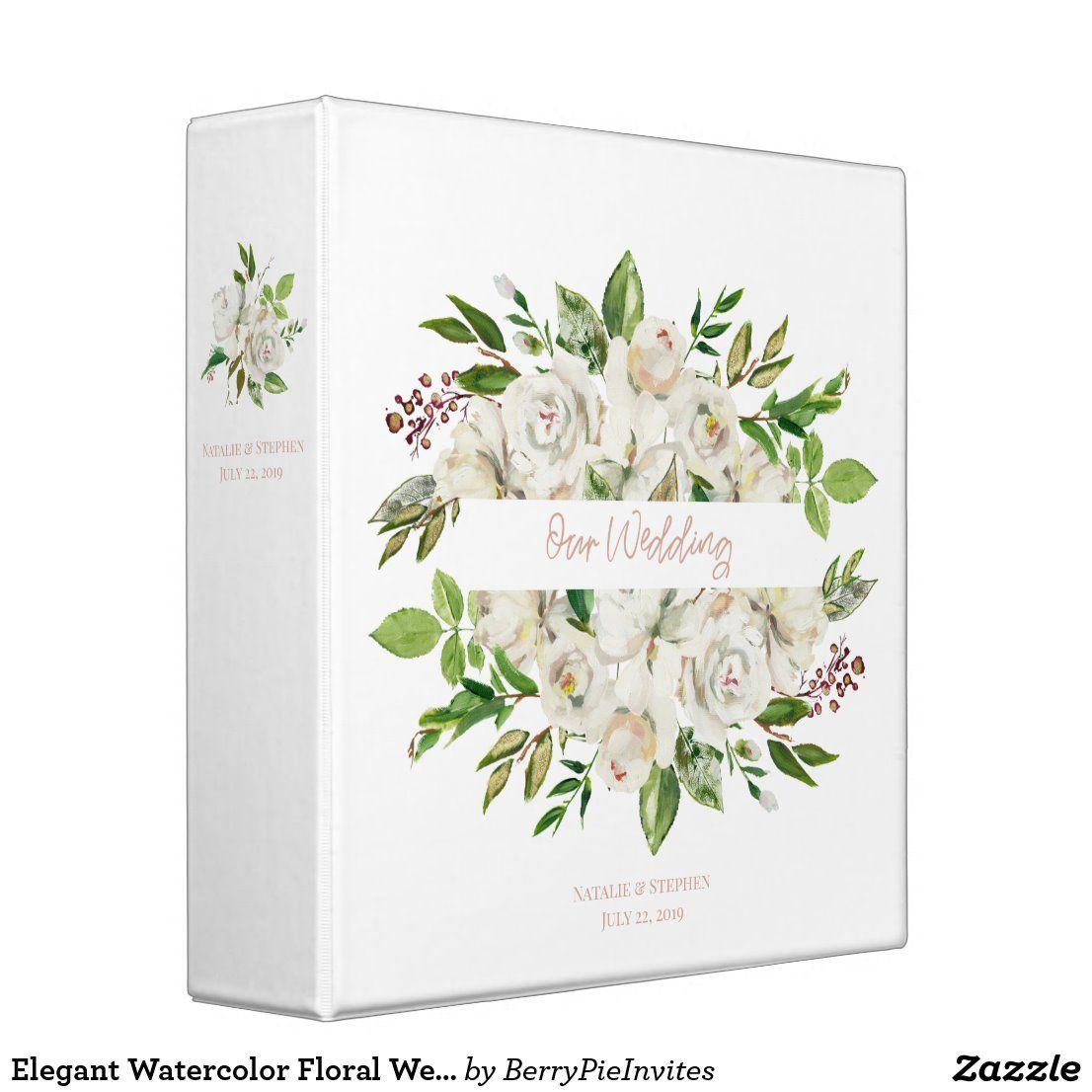 Elegant Watercolor Floral Wedding Photo Album 3 Ring