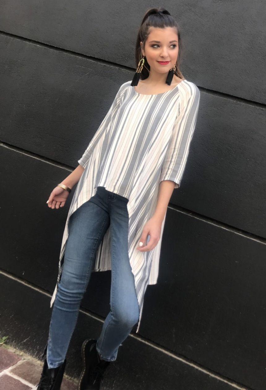 01096e1421e #millebacini #korydallos #rouxa #fashion #jean #blouse #white #striped