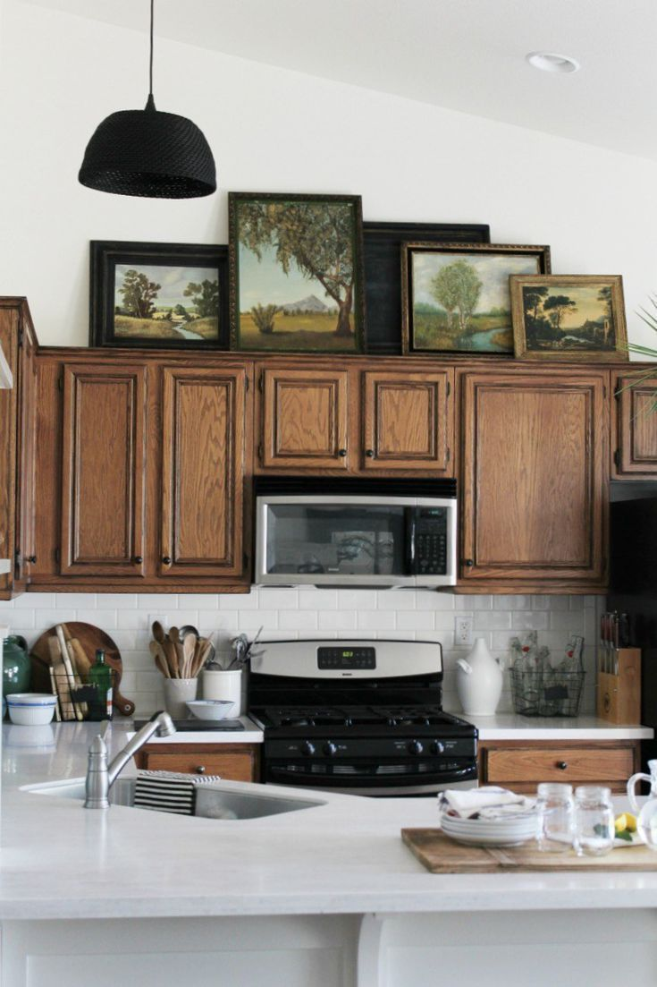 new ideas for decorating above your kitchen cabinets also rh pinterest