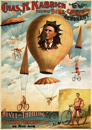 Novel and Thrilling. Bicycle Parachute Act, 1896 | Flickr - Photo Sharing!