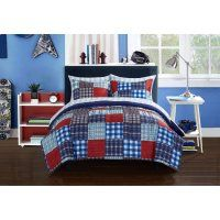 Mainstays Kids Mad Plaid Blue Bed In A Bag Bedding Set