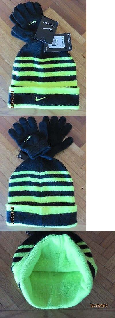 6ffd5e8a7cb Hats 57884  Boys Nike Winter Ski Hat And Gloves Set Black Neon Volt Youth  8-20 New -  BUY IT NOW ONLY   18.99 on  eBay  winter  gloves  black  youth