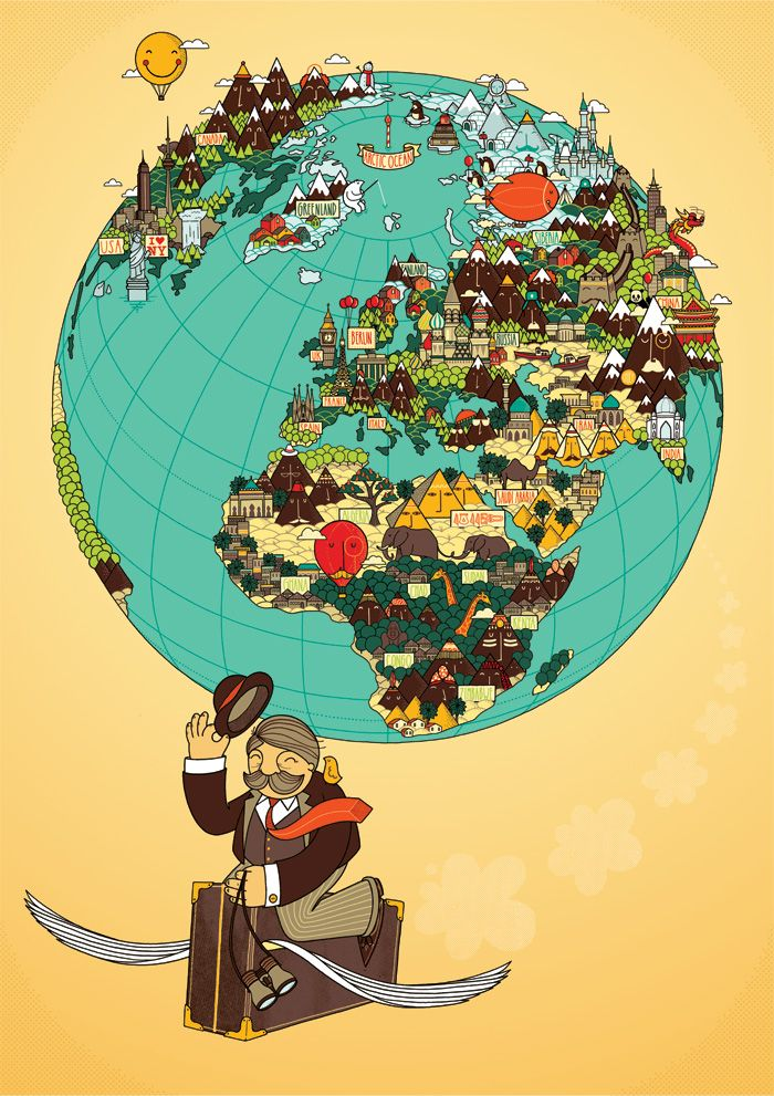 Around the world Globe, Documentary and Illustrations - new unique world map poster