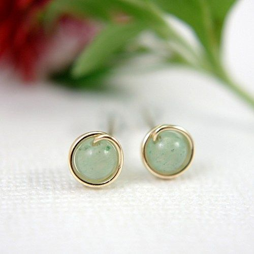 Tiny 4mm Round Pale Jade Green Adventurine Gemstone Beads Wire Wred By Me With 14k Gold Filled To Form Mini Stud Or Post Earrings